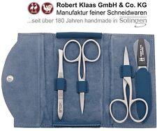 ROBERT KLAAS HANDMADE SOLINGEN CUTICLE NAIL SCISSORS 4 MANICURE SET CASE NAVY