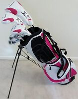 NEW Ladies Deluxe Golf Set Driver Wood Hybrid Irons Putter Stand Pink Bag Womens