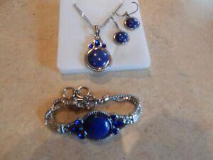 NEW Lapis Lazuli Austrian Crystal Toggle Bracelet, Earrings and Necklace Set