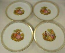 4 Vintage Winterling Roslau Fragonard The Lovers Gilded 20cm Plates c1950 VGC