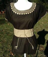 Maya Mexican Blouse w/Belt Faja Top Shirt Semi-Sheer Geometric Chiapas XL 750