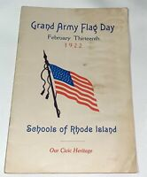 Rare Antique Patriotic American Grand Army Flag Day Rhode Island Book! 1922! GAR