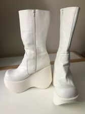 NEW! GoGo Dancer BM White Leather Platform Wedge Luichiny Boots US9 EU40 RARE