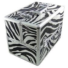 Beauty Case Make Up Nail Art Zebra XXL Valigia Cofanetto Porta Gioie Oggetti