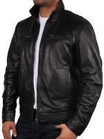 Brandslock Mens Leather Biker Jacket Distressed Genuine Lambskin