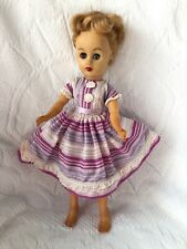 "Vintage Doll Clothes Fits 9 1/2"" To 10"" Fashion Dolls Lot #2 PURPLE Stripe DRESS"