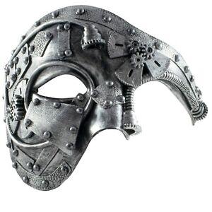 Mens Masquerade STEAMPUNK Mask | Phantom Half Face Mask | Fancy Dress PROM BALL