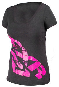 FXR Womens Black/Fuchsia Broadcast Short Sleeve T-Shirt