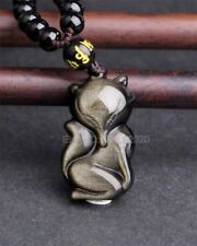 Natural Gold Obsidian Carved Cute Fox Lucky Amulet Pendant +Black Beads Necklace