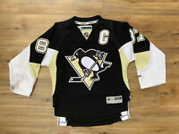 YOUTH UNISEX REEBOK PITTSBURGH PENGUINS C 87 CROSBY BLACK JERSEY SIZE S/M Sewn