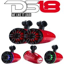 """DS18 NXL 6TP Hydro 6"""" Wakeboard Pod Tower Speakers RGB ATV UTV Boat Red Pair"""