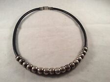 """Vintage Mexico Sterling Silver Beads & Leather 20"""" Necklace"""