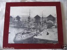 PHOTO MARINE NATIONALE ARSENAL CHERBOURG / BREST ? CUIRASSES FIN XIXème SIECLE