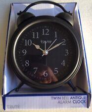 Tzumi Twin Bell Antique Style Alarm Clock (Black) Brand New!