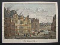 HANNOVER - Schloss. Handkolorierter Holzstich von 1881