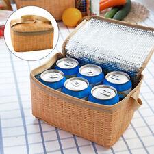 E92C Imitation Rattan Insulated Cooler Bag Food Insulation Bag Woven Waterproof