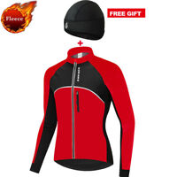 Men's Cycling Jacket Thermal Fleece Jersey Windproof Coat Bandana Hat Cap Winter