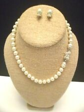NADRI Set Knotted Pearl Necklace & Earrings Swaroski & Rhodium-Plated  $178 NEW