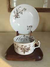 Tressman Vogt T & V Limoges France China Cup Plate Saucer Dish Twig Gold Handle