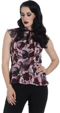 Hell Bunny SULLEN Vintage ROSES Skulls Insect PEPLUM Chiffon BLUSE Rockabilly