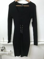 NWT WOMEN'S JUNIOR DEREK HEART LONG SLEEVE Ribbed BLACK DRESS Lace Up Front M