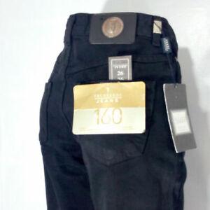 Jeans donna taglia 43 Trussardi nero 100% cotone dritti vita medio alta RP € 110