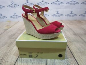 BRAND NEW Michael Kors Carlyn Wedge Berry Red Suede High Heel Sandal Shoes