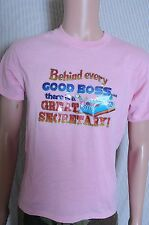 Vintage '80s Behind Every good boss is a great secretary pink t shirt M