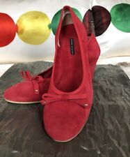 DANIELE ANCARANI ITALY BOW SUEDE RED SHOES Size 7