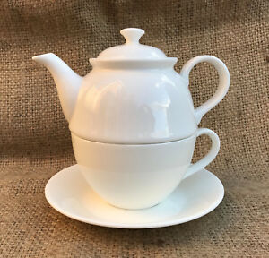 China Tea For One Set in Plain White China