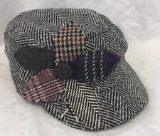 Black White Flower Cabbie Hat Women's Children's Patchwork Sweater Textured Cap