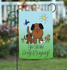 Toland Dogs Playing 12.5 x 18 Go Slow Children Kid Puppy Safety Garden Flag