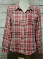 Lucky Brand Women's Button Front Top Size Medium Plaid Red Pink Tan Brown