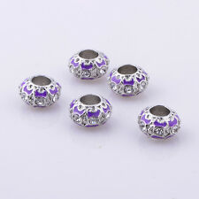 5x authentic european beads for bracelets silver filled charms purple clear CZ