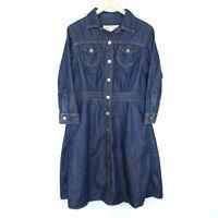 Gorman Denim Dress Button Dark Dark Wash Collared 3/4 Sleeve Size L