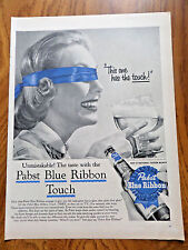1956 Pabst Blue Ribbon Beer Ad  Lady doing The Blindfold Taste Test