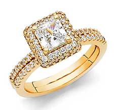 3 Ct Princess Cut Engagement Wedding Ring Set Real 14K Yellow Gold Matching Band