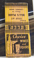 Rare Vintage Matchbook Cover Y1 Luckey Ohio Bill's Place Wines Liquors Beer Stop