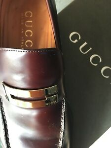Men Gucci Brown Large Gold Gucci Logo Shoes Size 10