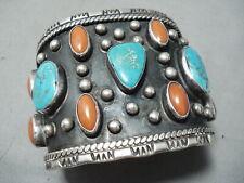 One Of Biggest Best Vintage Navajo Turquoise Coral Sterling Silver Bracelet