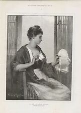 1888 IN THE CAP MARKET BOULOGNE BY KNOWLES WOMAN SEWING