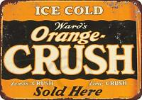 "Drink Ward's Orange Crush Vintage Rustic Retro Metal Sign 8"" x 12"""