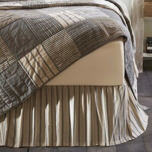 Sawyer Mill Charcoal Queen Gathered Bed Skirt 60x80x16 Dk Creme Charcoal Stripe