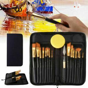 15Pcs Artist Paint Brush  Pro Art Painting Brushes Set Acrylic Oil Watercolor