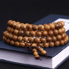 Natural Wood Mala Bracelet 108 8mm Wenge Beads Buddhist Prayer Necklace Tibetan
