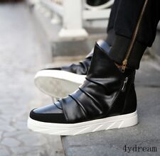 Mens Punk Zipper Sneakers Casual Board Shoes Flats Lace up High top Ankle Boots
