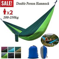 Nylon Camping Hammock Double 2 Person Parachute Tent Hiking Sleeping Swing Bed