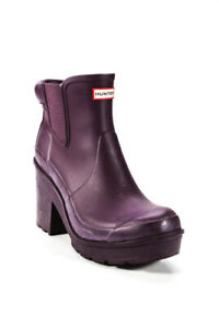 Hunter Womens Rubber High Heel Ankle Rainboots Purple Size 9