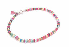 """knotted natural authentic multi gemstone bracelet solid 14k white gold 7"""""""