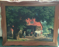 vintage horse and buggy days wood  framed print by Paul Detlefsen country decor